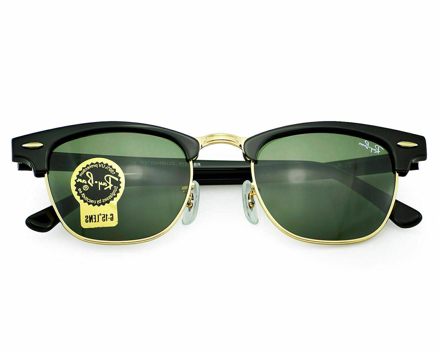 NEW Clubmaster RB3016 W0365 Black Gold Classic Green