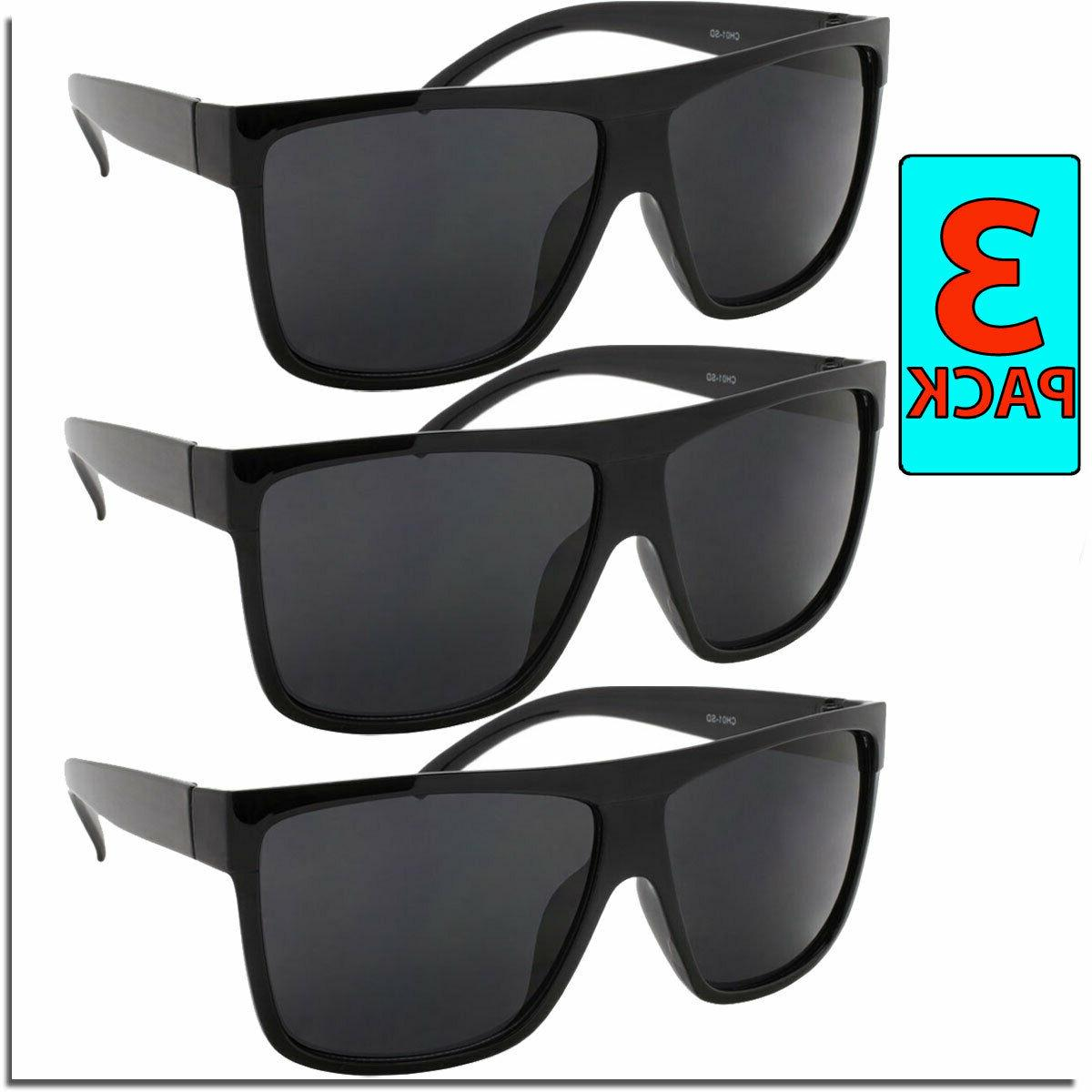 OG Sunglasses Mens Flat Top All Black Style Sunglass 3 PACK