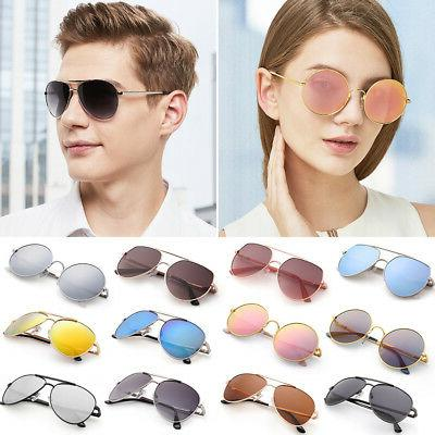 Shades Aviator for Women Men Vintage Driving Mirrored Case