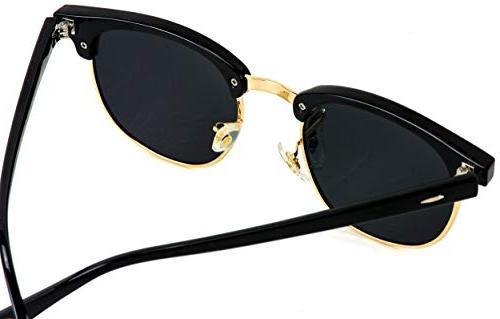 Polarized Clubmaster Frame Semi Rimless Sunglasses