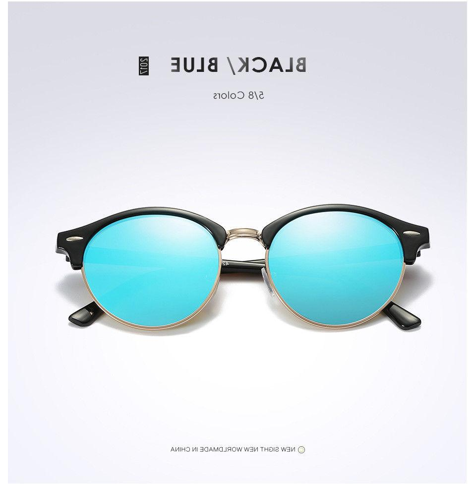 Polarized Retro Clubround Sunglasses Men Women Mirrored