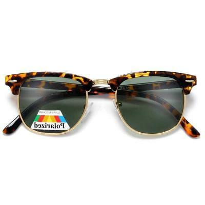 Polarized Retro Half Frame Semi-Rimless Sunglasses