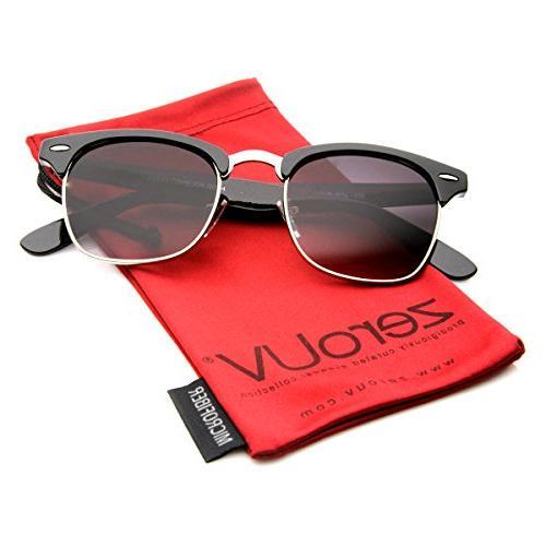 premium half frame horn rimmed sunglasses