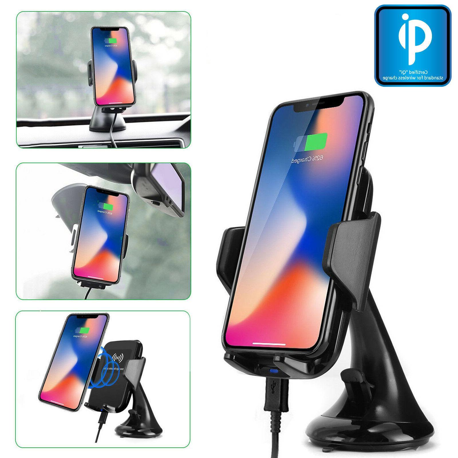 Qi Wireless Car Mount Windshield Holder + Dual USB Port Char