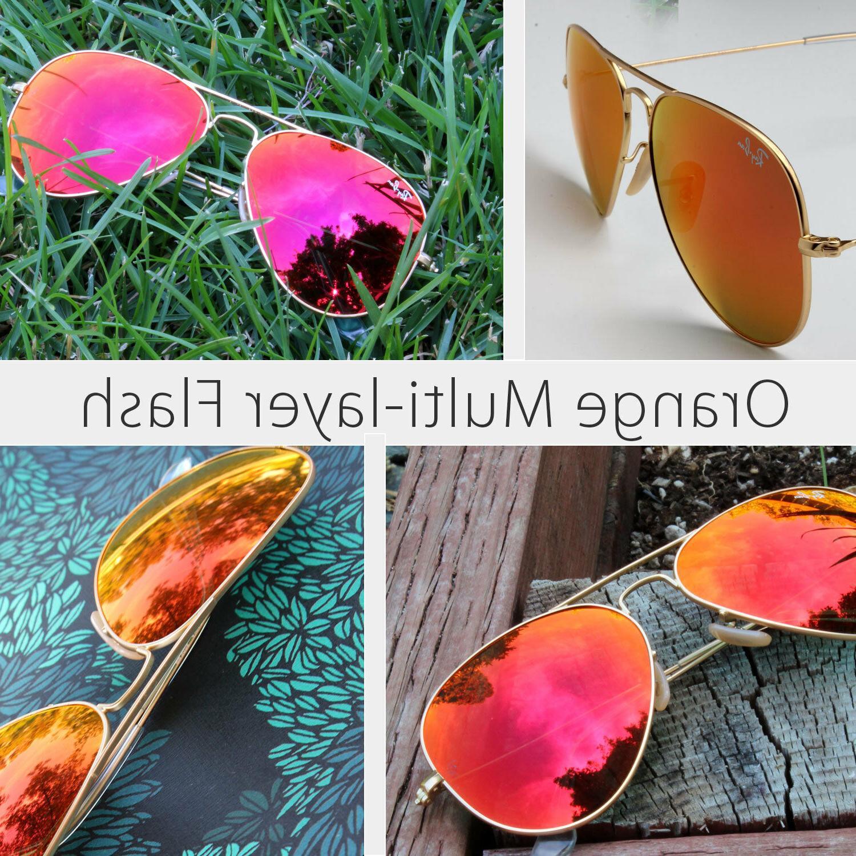58mm ray-ban aviator new sunglasses for women orange mirror/