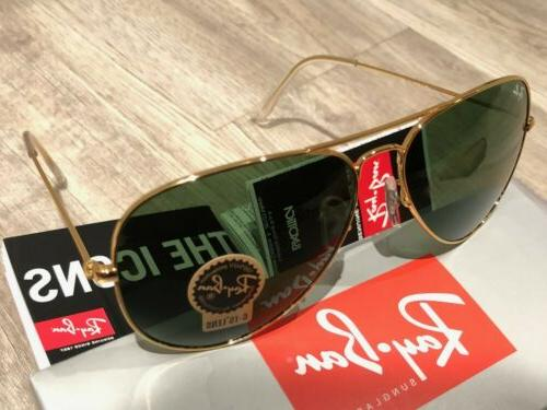 Ray-Ban RB3025 Aviator Classic Gold Frame/Green Unisex Large 62mm