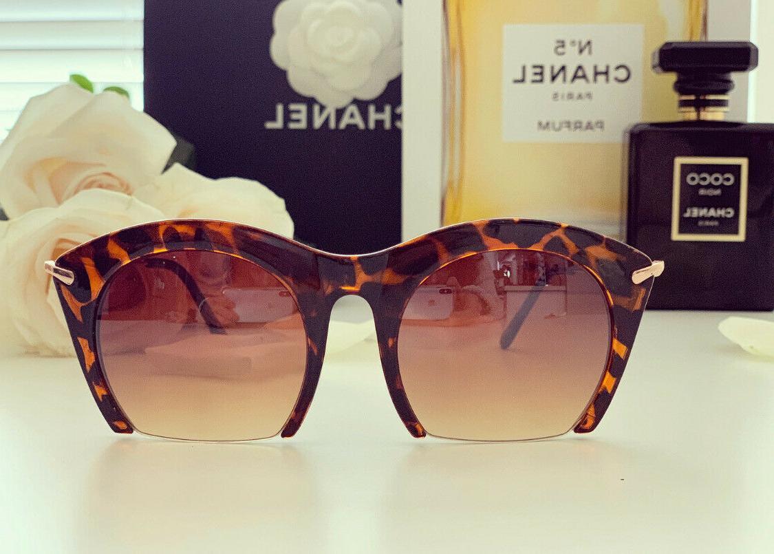 """RAZOR"" Semi Rimless Gradient Cut Women Sunglasses"