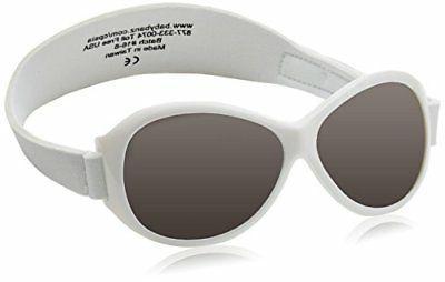 Baby Banz Retro Banz Oval Baby Sunglasses,Arctic White,One s