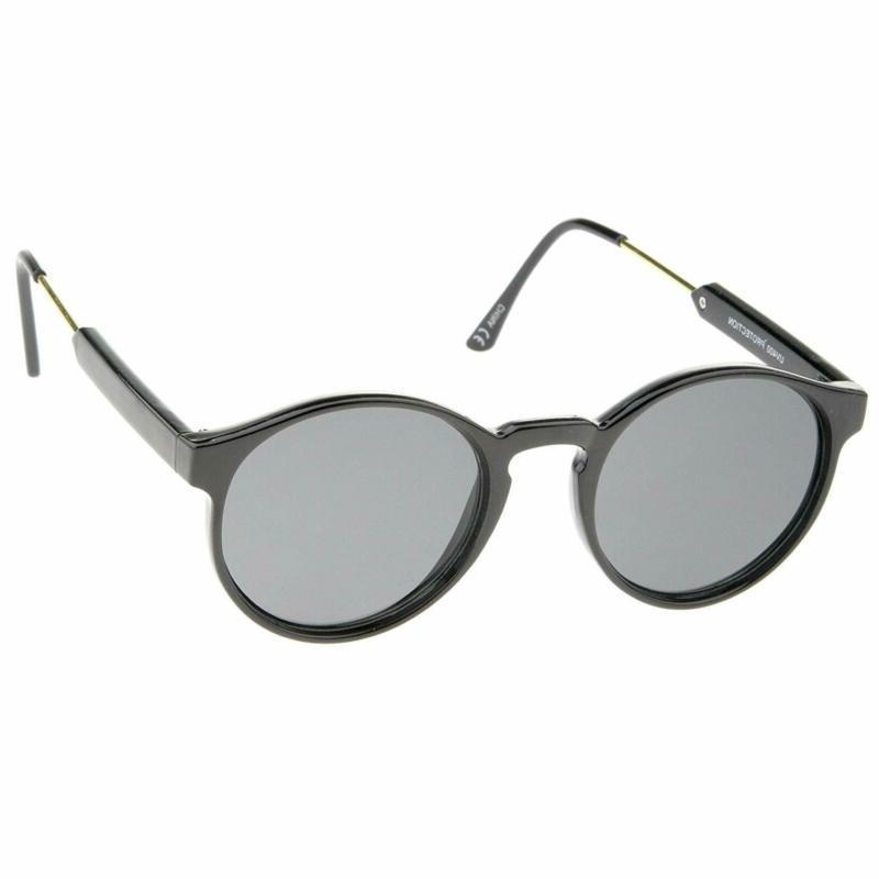 Retro Horn Temple Flat Round Sunglasses 49Mm