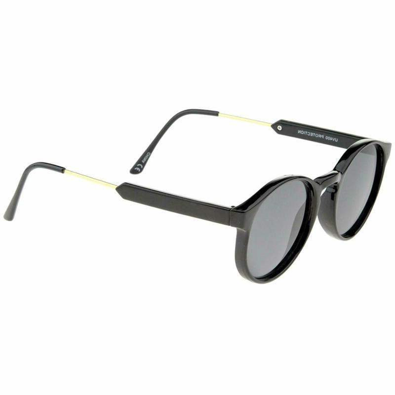 Retro Horn Metal Temple Round Sunglasses