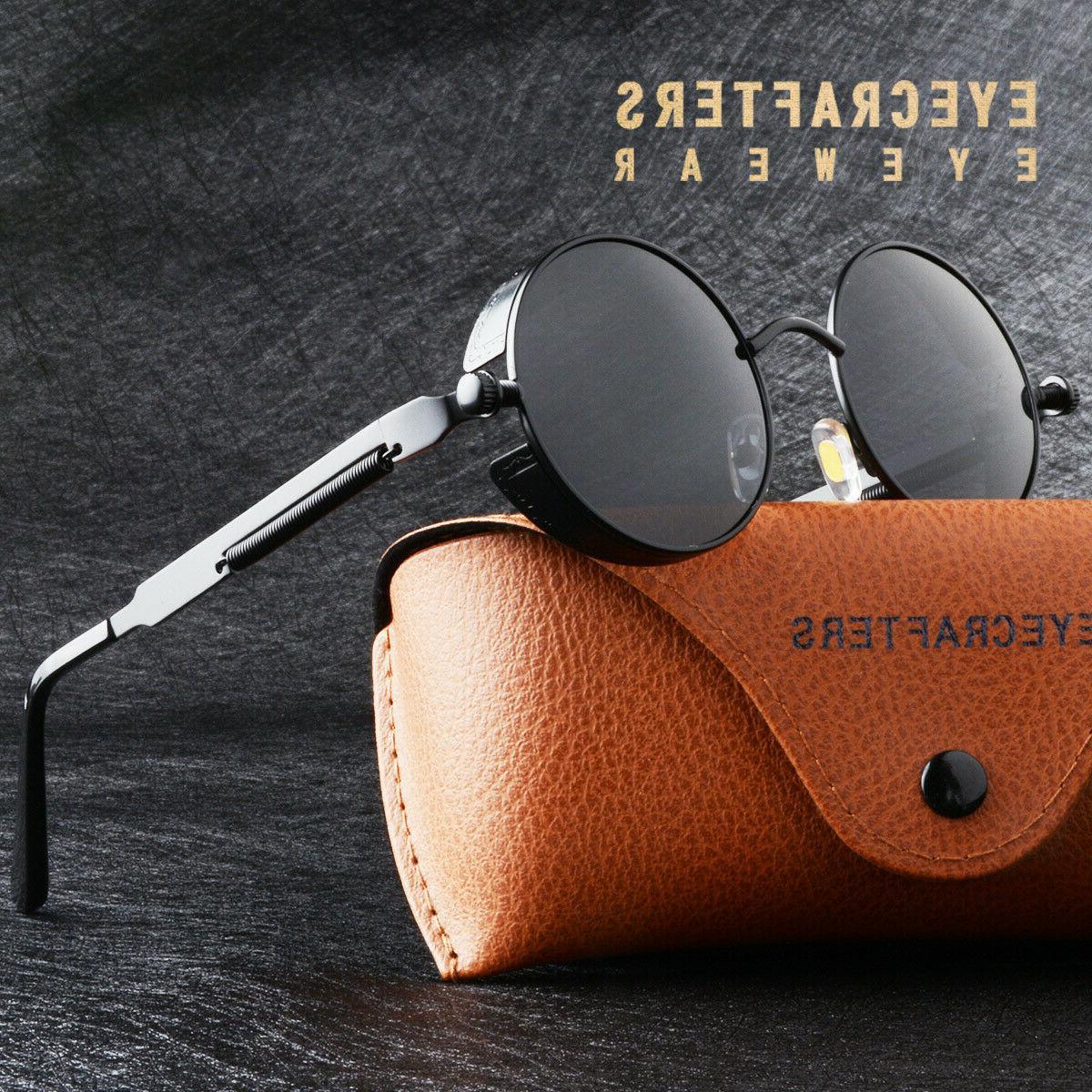 Gold Metal Retro Round Polarized Sunglasses Vintage Gothic S