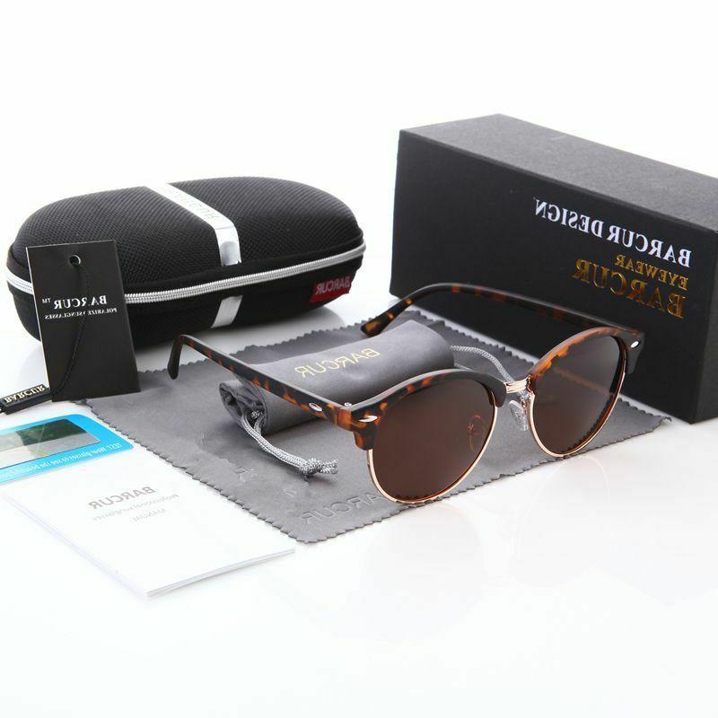 Retro Round Sunglasses Men Luxury Brand Eyewear Leopard Acce