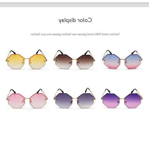 Rimless Sunglasses Vintage Gradient Color