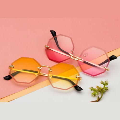 Rimless Sunglasses Men Small Gradient Color Eyewear