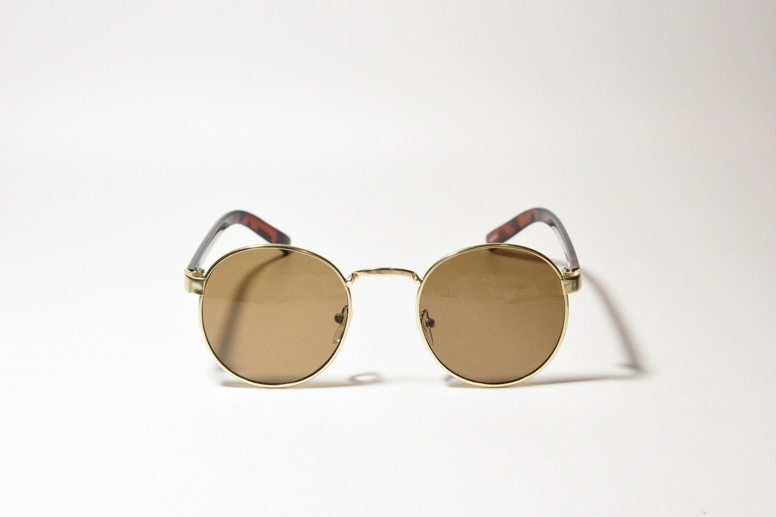 round metal plastic frame sunglasses gold tortoise