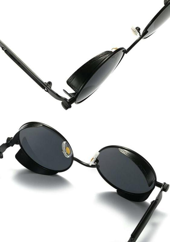 Joopin-Round Retro Driving Polarized Glasses Steampunk
