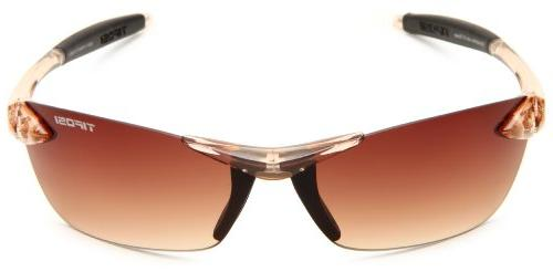 Tifosi Womens Wrap Sunglasses,Crystal Brown Gradient Size