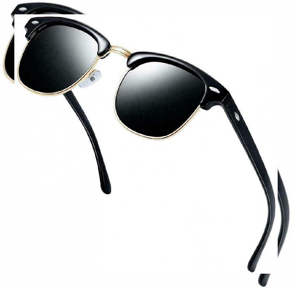 semi rimless polarized sunglasses unisex brilliant black