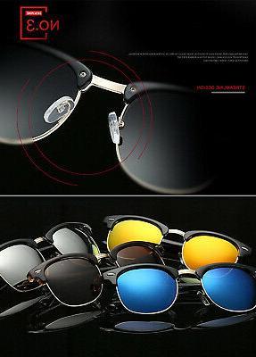 semi rimless polarized sunglasses unisex retro brand