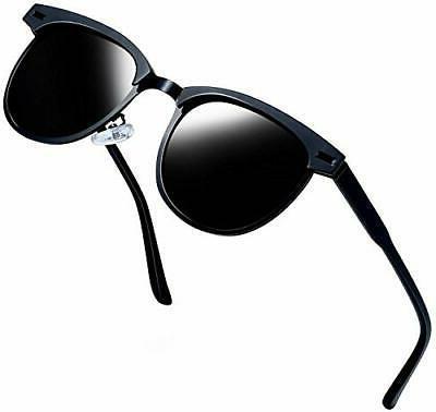 semi rimless polarized sunglasses women men black