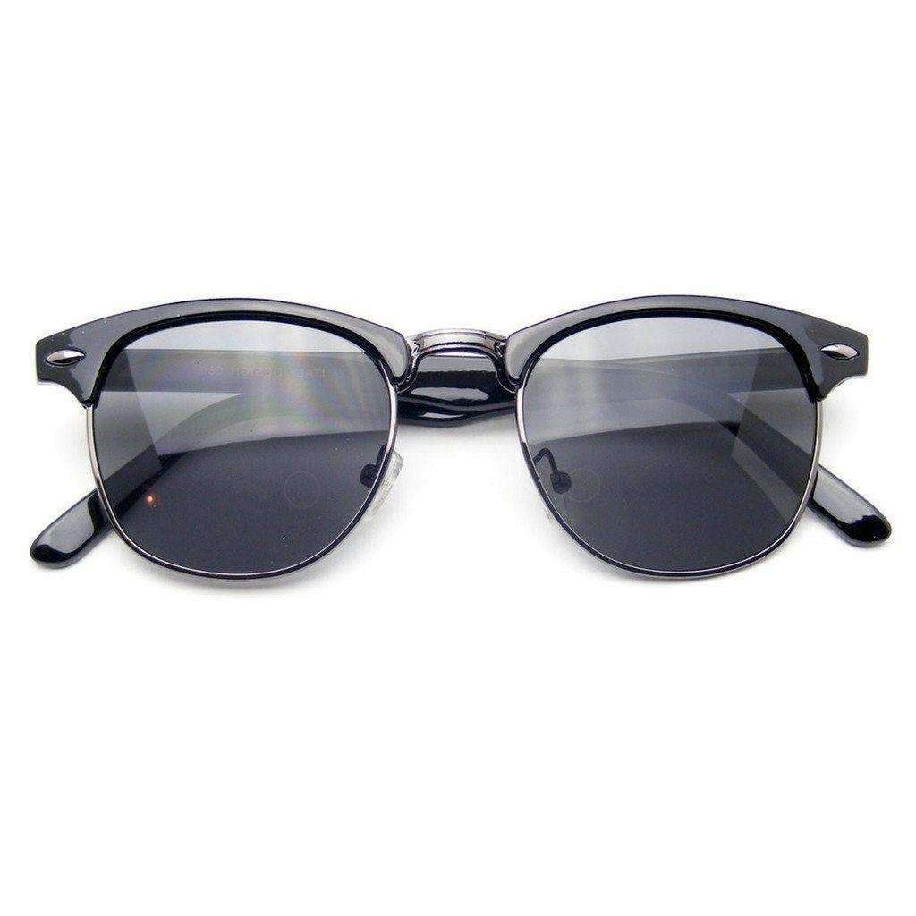 Semi Rimless Sunglasses Men's Women's Half Frame Vintage Des