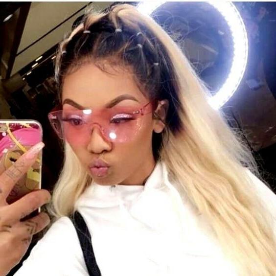 Sunglasses Women Gradient Rimless Shadz PINK