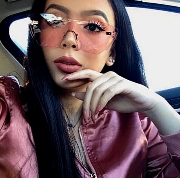 sunglasses mask loop transparent women gradient rimless