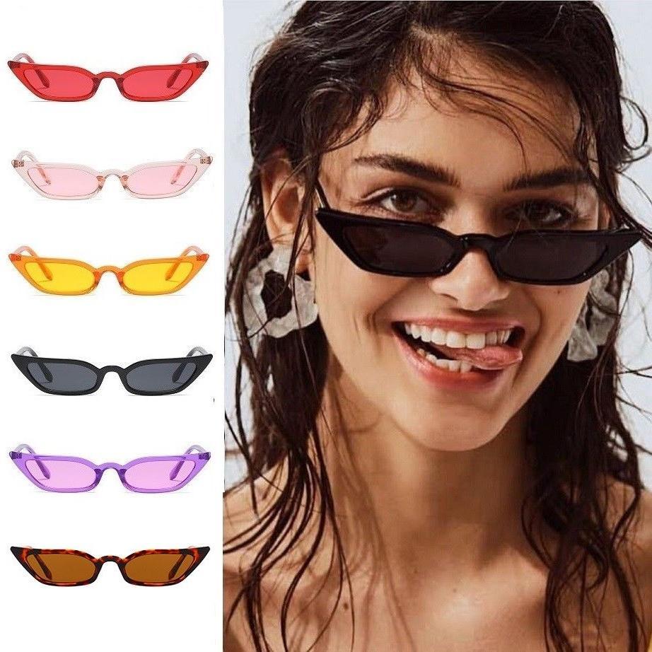Small Cat Eye Fashion Women Sunglasses Flat Top Retro Vintag