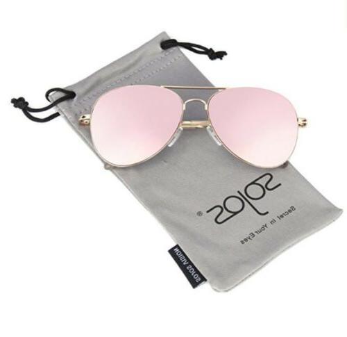 SojoS Classic Aviator Mirrored Flat Lens Pink Sunglasses Met