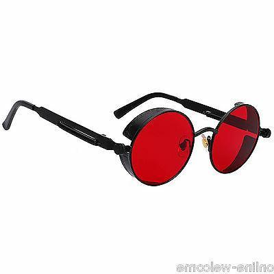 Steampunk Gothic Retro Round Circle Sunglasses Black Metal F