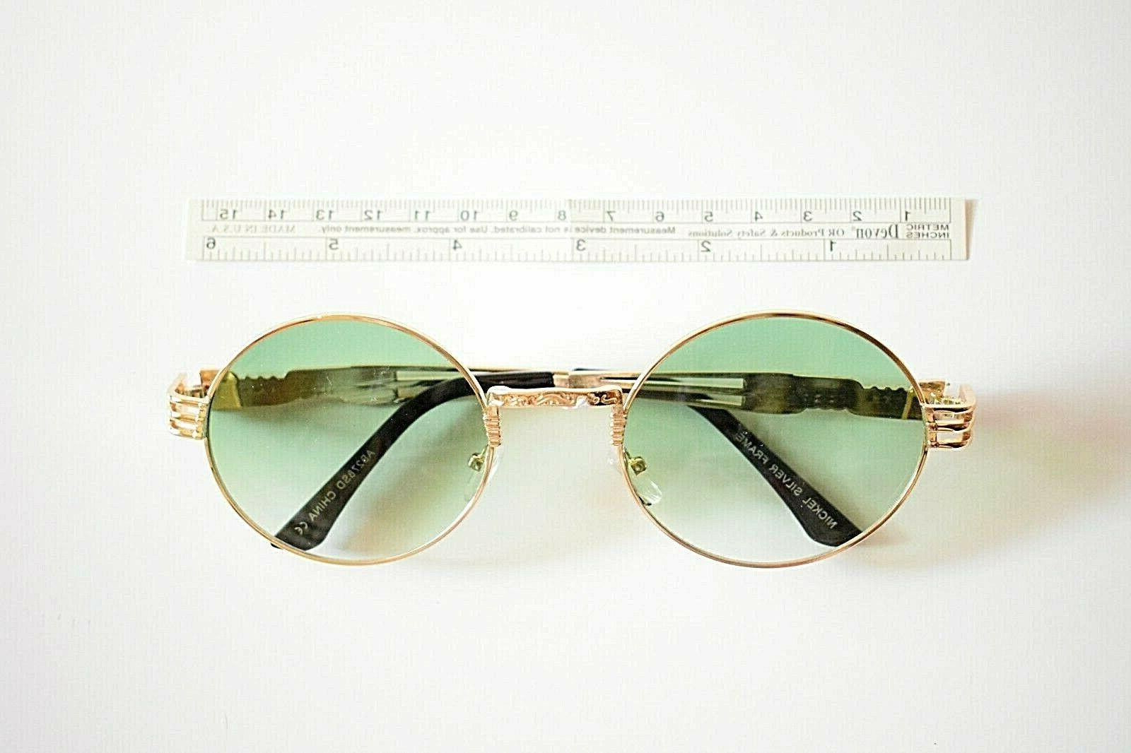 zeroUV Steampunk Sunglasses Gold Metal with Round