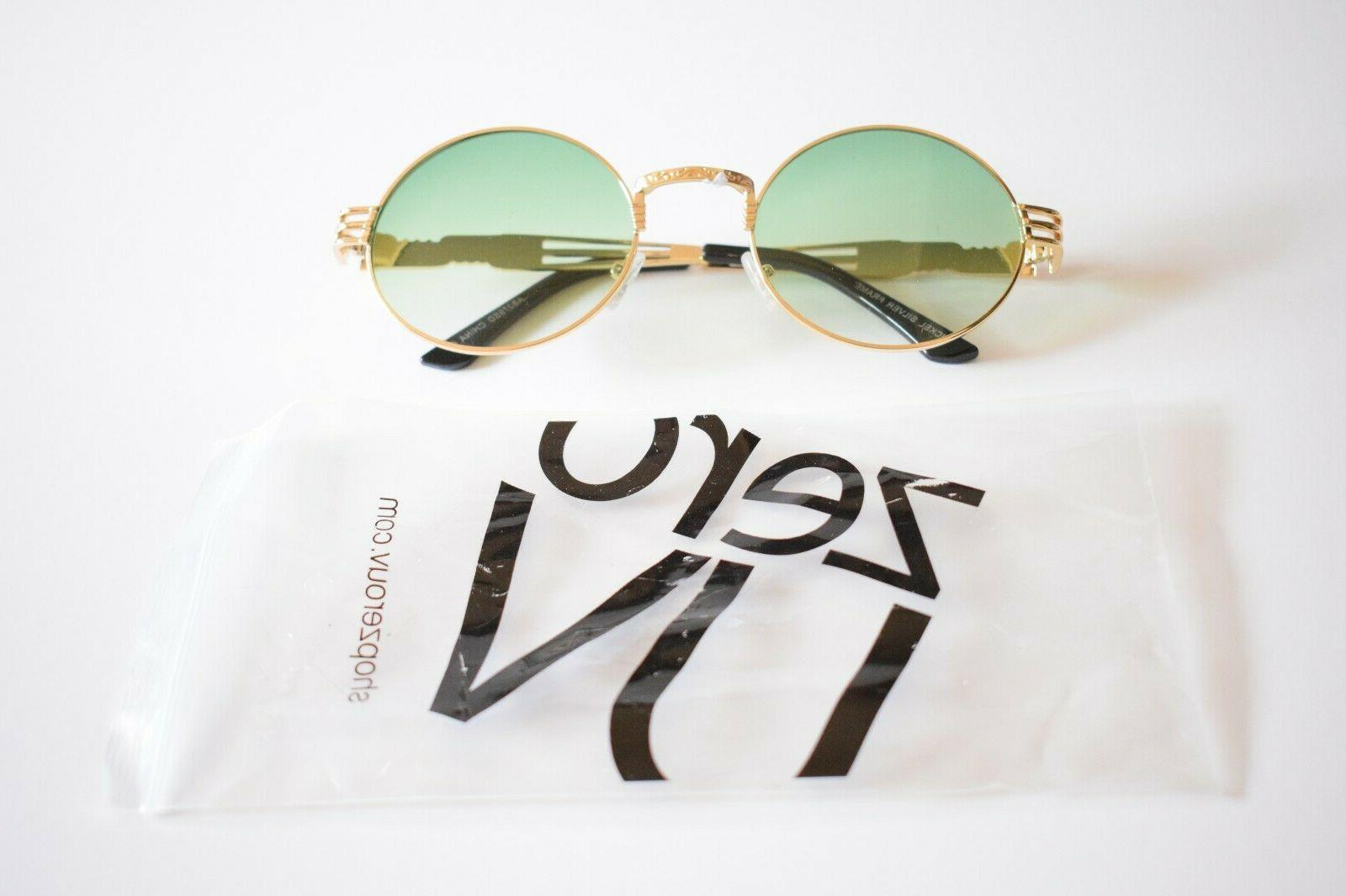 steampunk sunglasses gold metal with green oversize