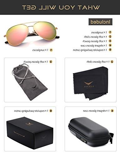 Womens Sunglasses Pink Mirror - UV Protection Gold Frame