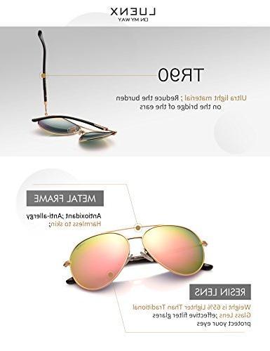 Womens Sunglasses Pink Mirror - UV 400 Gold Frame