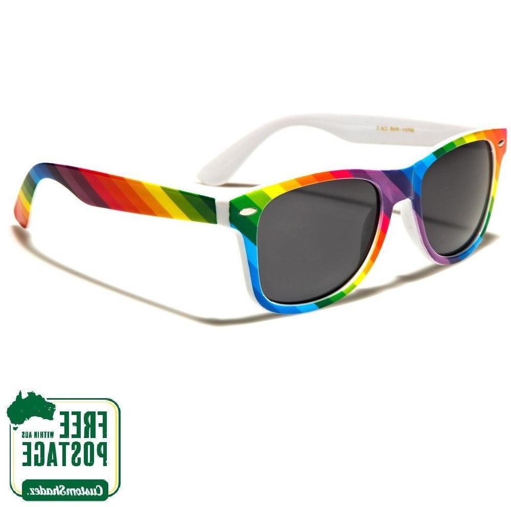 Retro Optix Sunglasses - Classic Retro Frame - Rainbow Print