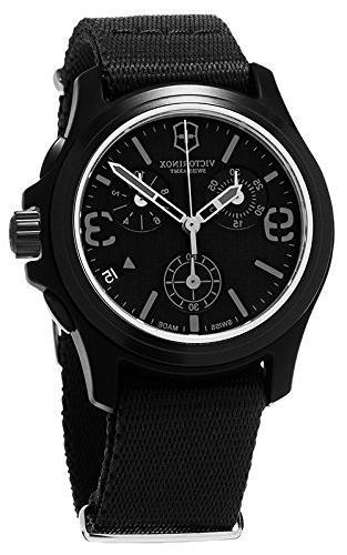 Victorinox Swiss Army Black Dial Black Textile Chronograph M