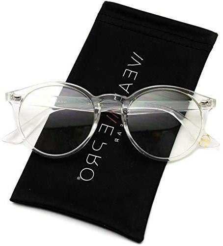 transparent clear frame round hipster glasses