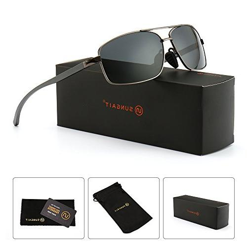 a0994bc2df8 SUNGAIT Ultra Lightweight Rectangular Polarized Sunglasses 100% UV