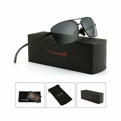 Rectangle Polarized Sunglasses Metal Frame Gray Lens - mens