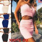 USA Womens 2 Piece Bodycon Two Piece Crop Top and Skirt Set
