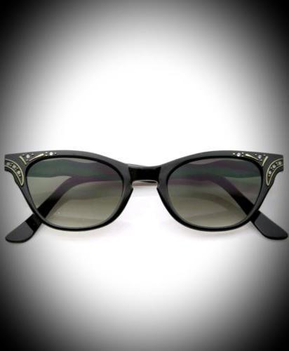 vintage inspired womens fashion rhinestone cat eye