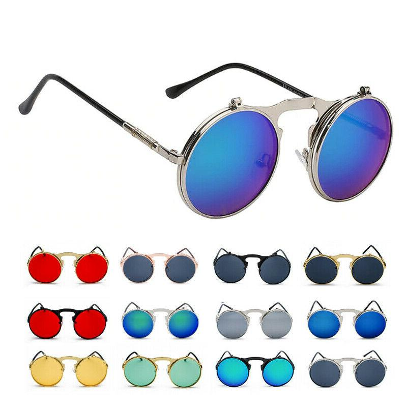 Vintage Retro Flip Up Sunglasses Men Women's Gothic Circle R