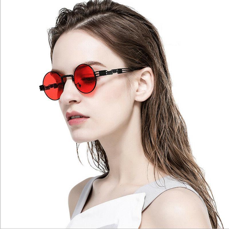 Vintage Retro Steampunk Sunglasses Luxury Designer Round