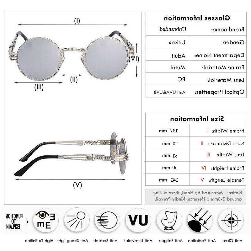 Vintage Retro Steampunk Sunglasses Luxury Designer Round Circle Hippie Glasses