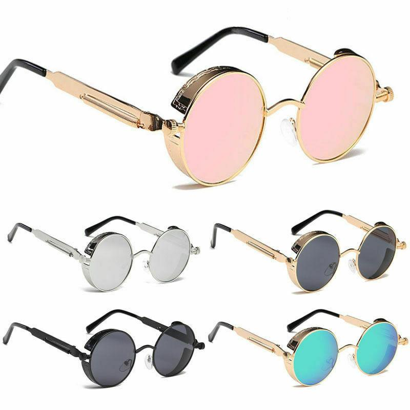 vintage retro steampunk sunglasses inspired round metal