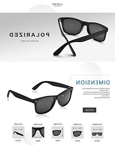 Mens Wayfarer Polarized Sunglasses for UV 400 Protection Black LUENX with Case