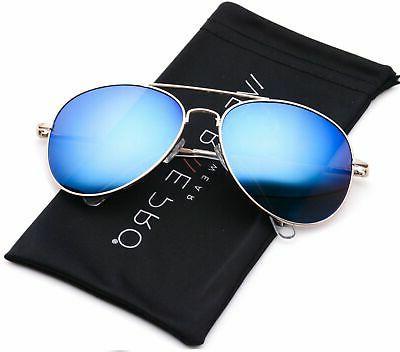 WearMe Pro - Classic Mirror Lenses Aviator Sunglasses w/Flex