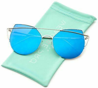 WearMe Pro - Pink Lens Semi Rimless Metal Cute Women Sunglas