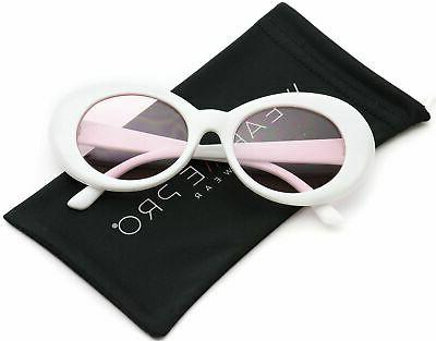 WearMe Pro - White Oval Tinted Lens Women Sunglasses Color:T