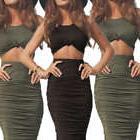 Women 2 Piece Bodycon Two Piece Crop Top and Skirt Set Banda